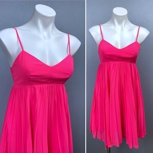 Amanda Uprichard babydoll pleated pink mini dress